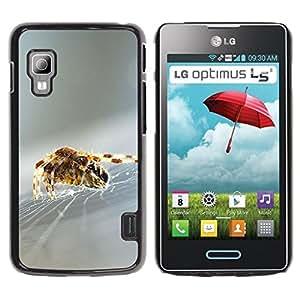 Caucho caso de Shell duro de la cubierta de accesorios de protección BY RAYDREAMMM - LG Optimus L5 II Dual E455 E460 - Spider Web Nature Silk Silver Blurry