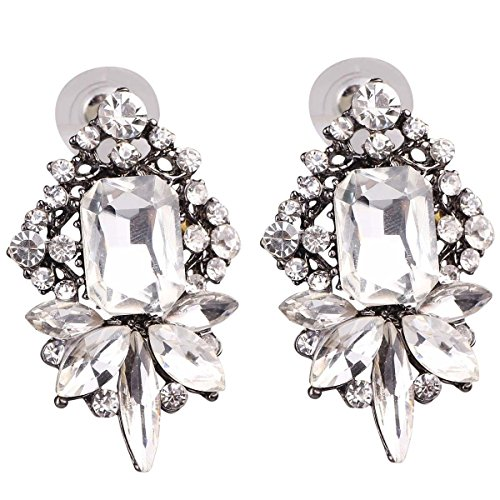(Art Deco Antique Vintage Style Rhinestone Wedding Bridal Prom Earrings)