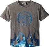 Versace Kids Baby Boy's Short Sleeve Medusa Logo T-Shirt w/Flames (Toddler/Little Kids) Grey 6