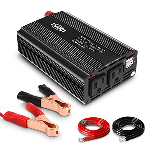 Tvird Car Power Inverter, 500W Power Inverter,1000W Surge Power,DC 12V to AC 110V,Dual AC Outlets and Dual USB Charging Ports for Tablets,Laptops and Smartphones,and High-Power Appliances
