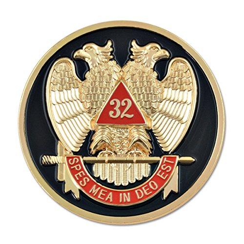 (32nd Degree Scottish Rite Round Black & Red Masonic Auto Emblem - 3