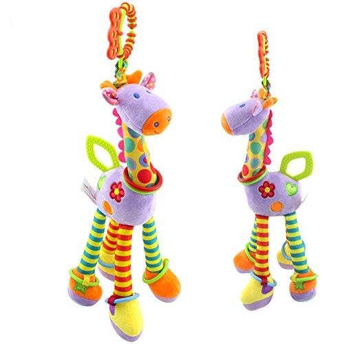 Lanlan Cute Fashion Baby Cartoon Giraffe Plush Dolls Puzzle Cartoon Pulling Bell Hanging Ring Pendant Violet