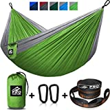 Double Camping Hammock - XL Hammocks, Free Premium Straps & Carabiners - Lightweight and Compact Parachute Nylon. Backpacker Approved and Ready for Adventure! 10x6.5FT