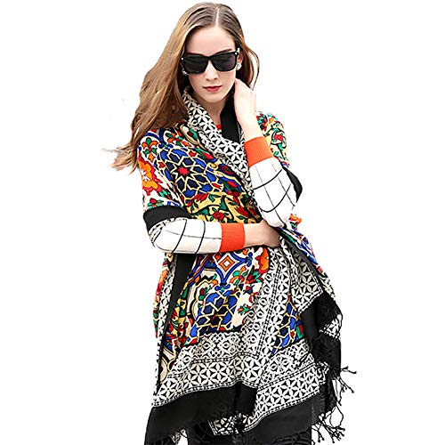 DANA XU 100% Pure Wool Women Winter Large Scarf Pashmina (Black) ()