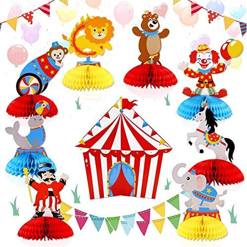 JeVenis Circus Carnival Animals decoracion de la mesa centro de mesa de circo para carnaval cumpleanos baby shower fiesta decoracion accesorios