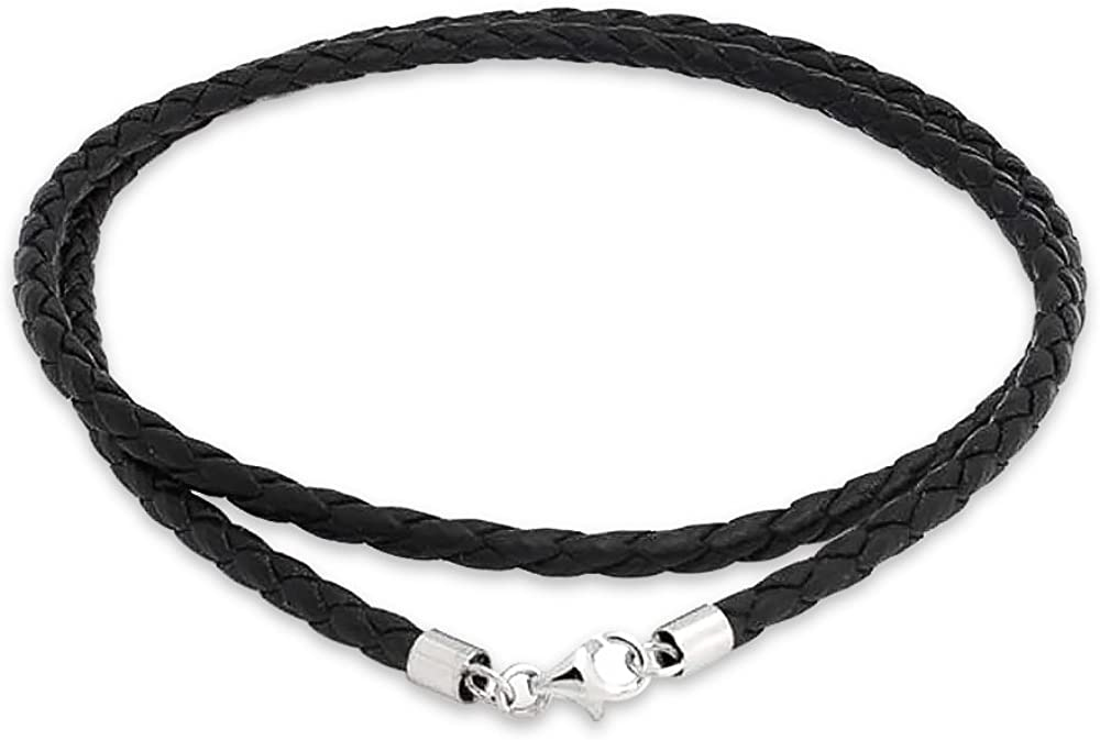 Genuine Brown Black Leather Braided Rope Weave Necklace Pendant Cord for Women for Men Silver Plated 14 16 18 20 24 Inch