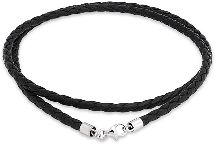 """16/"""" 17/"""" Braided White Leather Choker Necklace Silver Stainless Lobster Clasp NEW"""