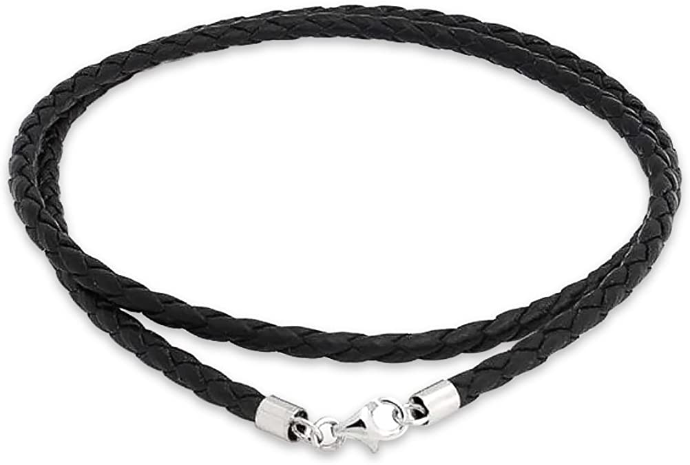 925 Sterling Silver Brown Leather Cord Necklace in Silver Choice of Lengths 16 18 20 and 1.5mm 2mm