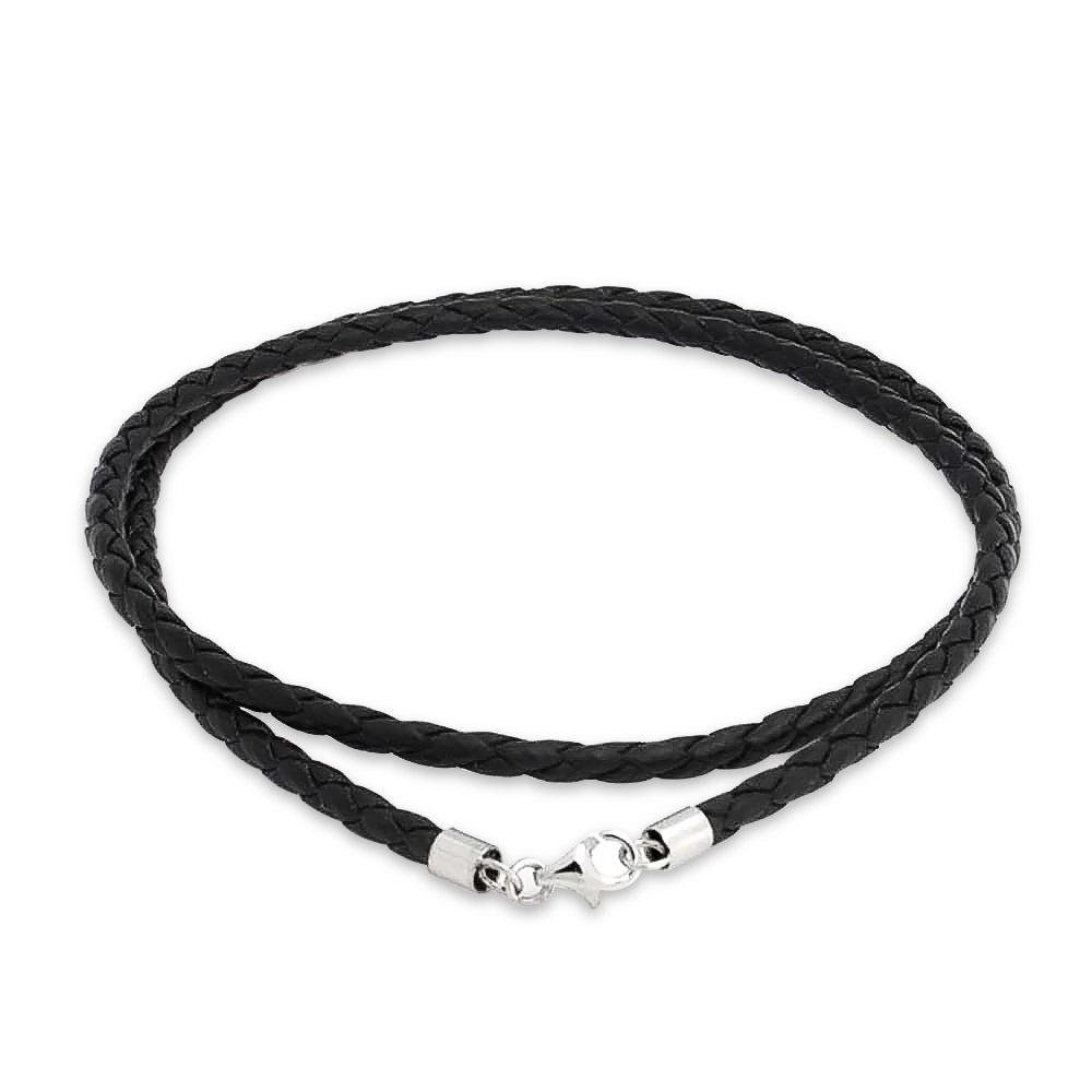 18 Inch Mens 2.5mm Thick Black Leather Cord Necklace With Sterling Silver Lobster Clasp Gift Boxed ABkYfFSE