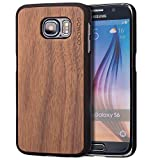 Samsung Galaxy S6 Case - Wood - Real Walnut Wooden Backplate With Unique Natural Grains and Shock Absorbing Polycarbonate Protective Bumper