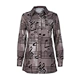 Hatoys Women's Ladies Fashion Winter Turndown Collar Musical Note Print Button Shirts Tops,Long Sleeve Blouse (S, Khaki)