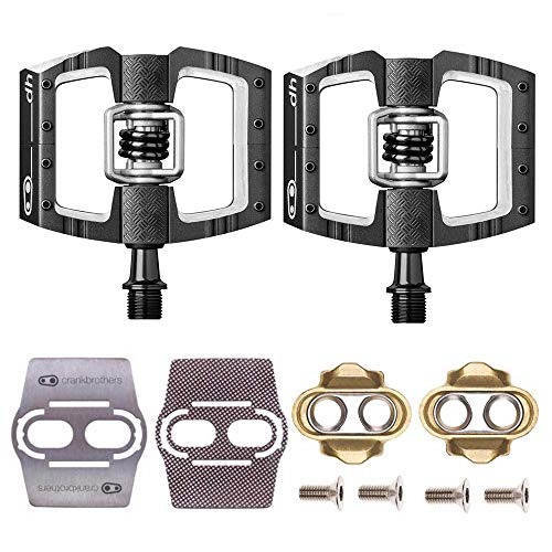 (CRANKBROTHERs Mallet Race Pedals Pair, Black (DH Downhill) with Premium Cleats and Bike Shoe Shields Set)