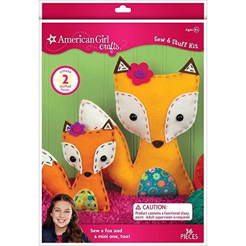 - American Girl Crafts DIY Fox Stuffed Animals Sew and Stuff Kit, 8'' W x 10.5'' H and 5.25'' W x 6'' H