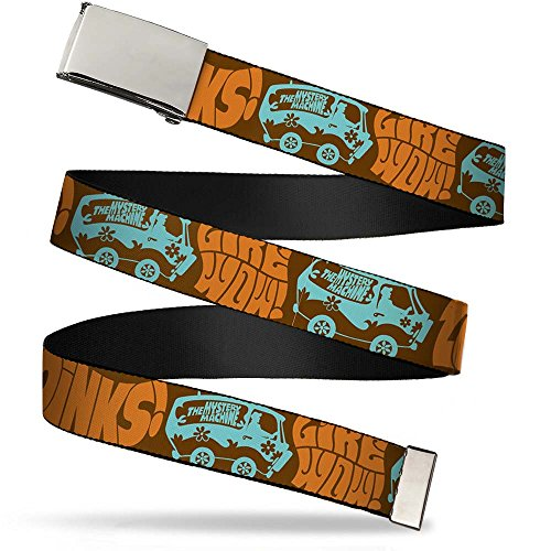"""Buckle-Down Big Web Belt Scooby Doo, Zoinks/Like Wow/the Mystery Machine Brown/Baby Blue, 1.0"""" Wide-fits up to Kids Size 20"""