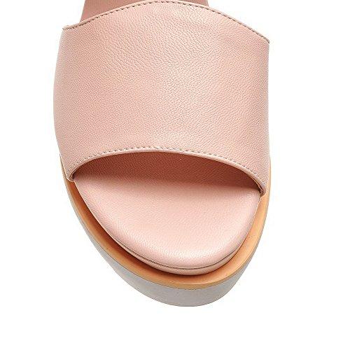 AgooLar Women's Buckle Kitten Heels PU Solid Open Toe Sandals Pink RF5SHlg