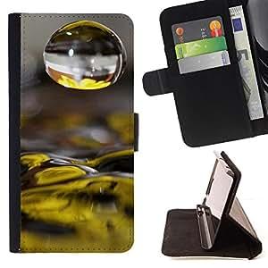 BullDog Case - FOR/LG G3 / - / Water Drop Yellow Flower /- Monedero de cuero de la PU Llevar cubierta de la caja con el ID Credit Card Slots Flip funda de cuer