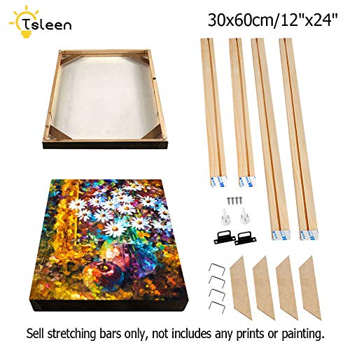"""Wood Stretcher Bars Painting Canvas Wooden Frame for Gallery Wrap Oil Painting,Needlepoint Stretcher Bars DIY,Canvas Mounting Frames,Canvas Strips Supply,30x60cm/12""""x24"""""""