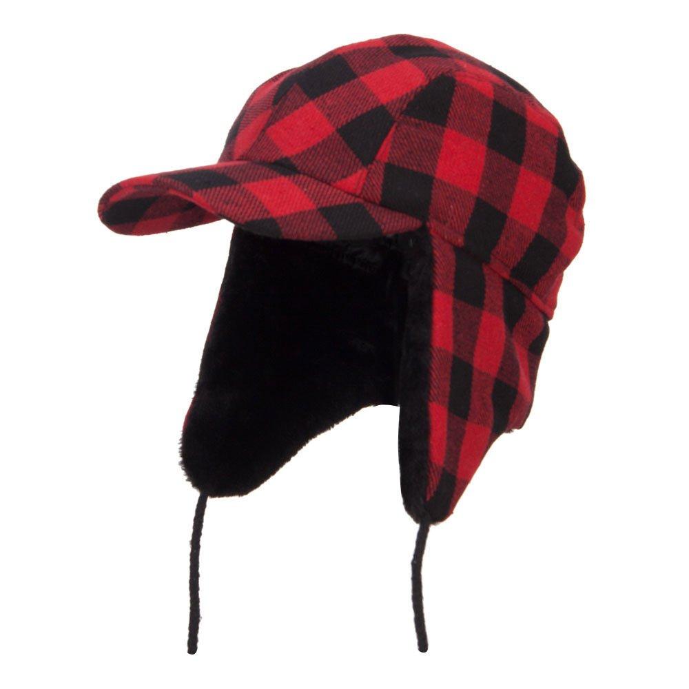 Big Size Buffalo Plaid Hunter Cap - Red 2XL-3XL by e4Hats.com