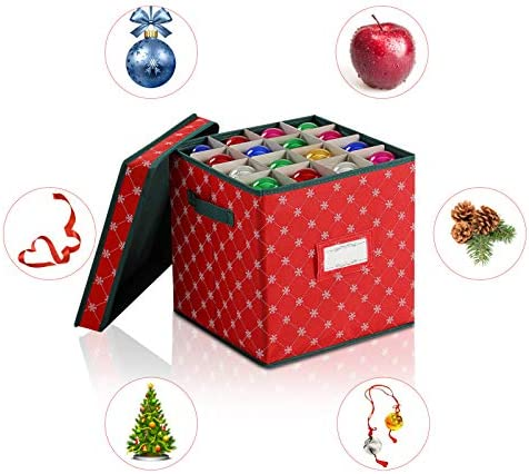 Christmas Ornament Storage Boxes with Lids [1-Pack] - Storage Boxes to Store Christmas Decor and Holiday Ornaments, Decorative Storage Organizer Containers Basket Cube with Handles for Holiday Storage