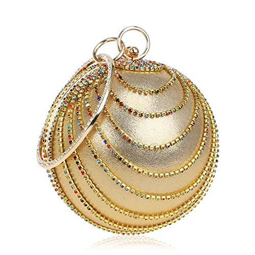 Clutch Bridal Prom DCRYWRX Purse Spherical Bag Women For Clubs Ladies Party Wedding Evening Gift Bag Fringed Gold 7zqzgCX