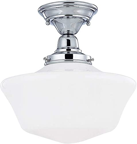 Design Classics Lighting 12 Inch Retro Farm Style Schoolhouse Ceiling Light in Chrome Finish with Milk Frosted Glass