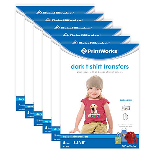 Printworks Dark T-Shirt Transfers for Inkjet Printers, for Use on Dark and Light/White Fabrics, Photo Quality Prints, 6-Pack (30 Sheets), 8 ½