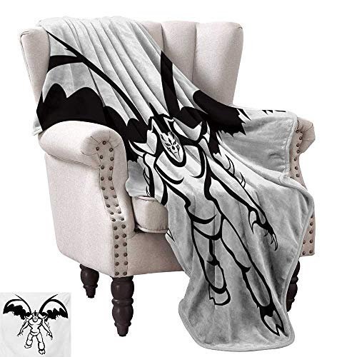 Video Game Blanket Sheets Fantastic Creatures Sci-fi Theme Fantasy Warrior with Wings Sorcerer Print Sofa Chair 54
