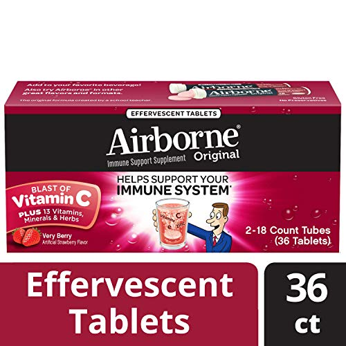 Vitamin C 1000mg - Airborne Very Berry Effervescent Tablets, 36 count - Immune Support Supplement