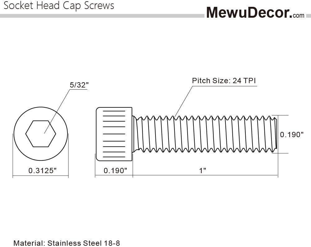 Stainless Steel 18-8 Full Thread Allen Socket Drive Bright Finish 10-24 x 1-1//4 Socket Head Cap Screws Quantity 50