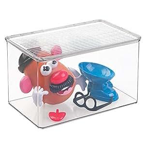 Mdesign organizador de juguetes con tapa cajas de almacenaje para guardar juguetes bajo la - Caja almacenaje infantil ...
