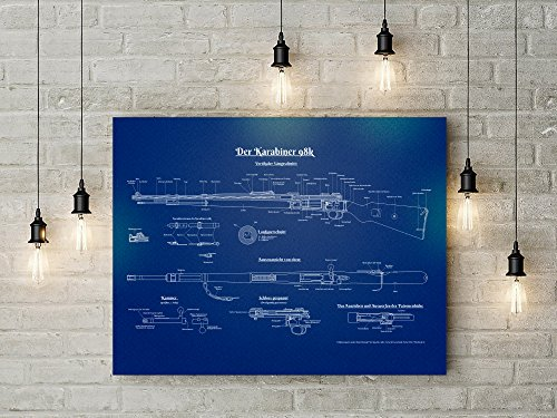 Mauser K98 Rifle Blue color Patent Print Wall Art Decor - Gi
