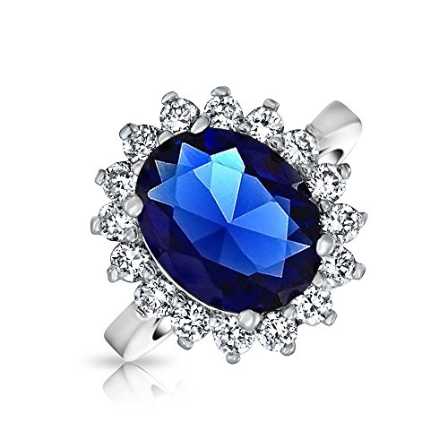 Bling Jewelry Royal 5ct Oval Simulated Sapphire Engagement Ring Rhodium Plated - Brass Ring Princess