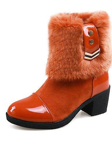 Tacón Cerrada Botas Uk6 negro U Eu35 Oficina Semicuero Zapatos 5 Orange Eu39 us5 Casual Punta Vestido Cn40 Cn34 5 De Uk3 Robusto us8 Xzz Mujer Trabajo Orange Redonda Y 08twCqtR