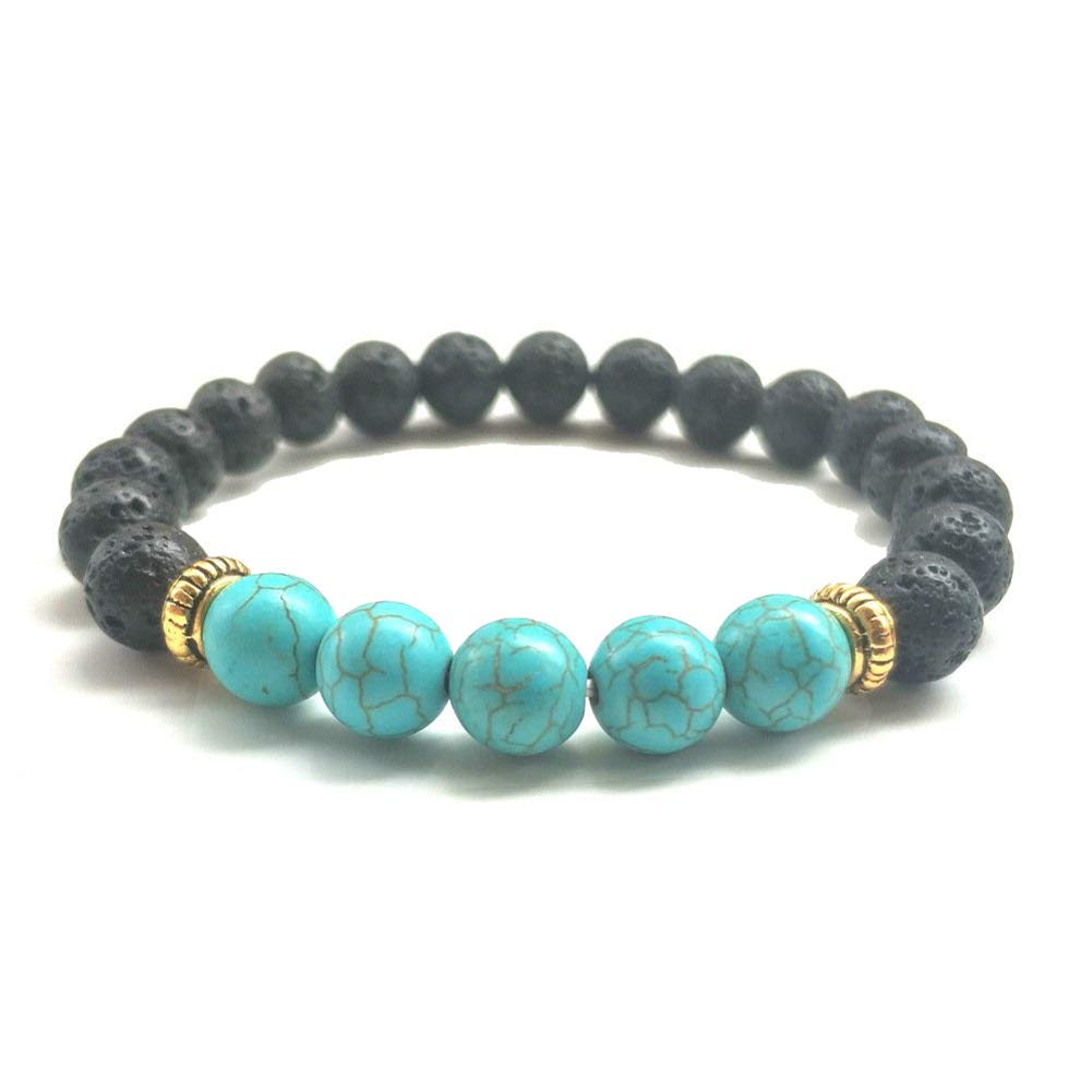 OUSHE Natural Gemstone Lava Beads 8mm Turquoise Agate Bracelet Lava Stone Essential Oil Yoga Healing Stretch Bangle for Women