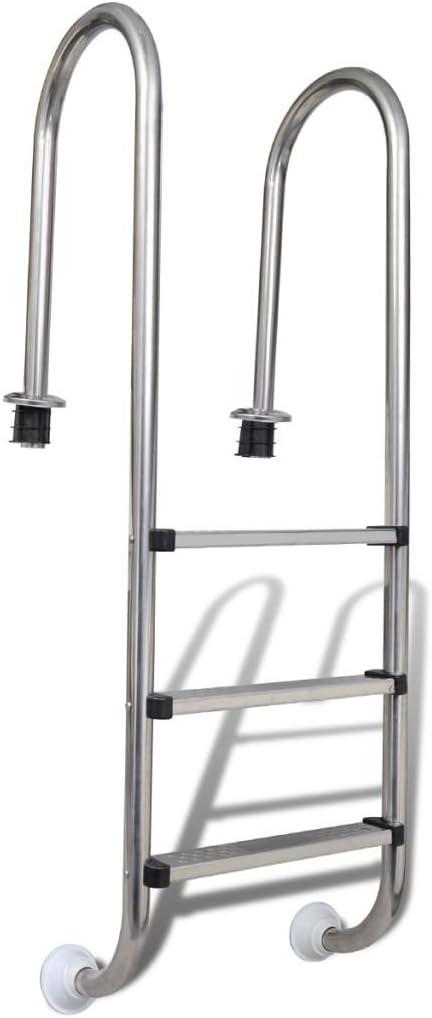 mewmewcat Escalera para Piscina 3 peldaños 120 cm Dimensiones totales: 49 x 36 x 158 cm
