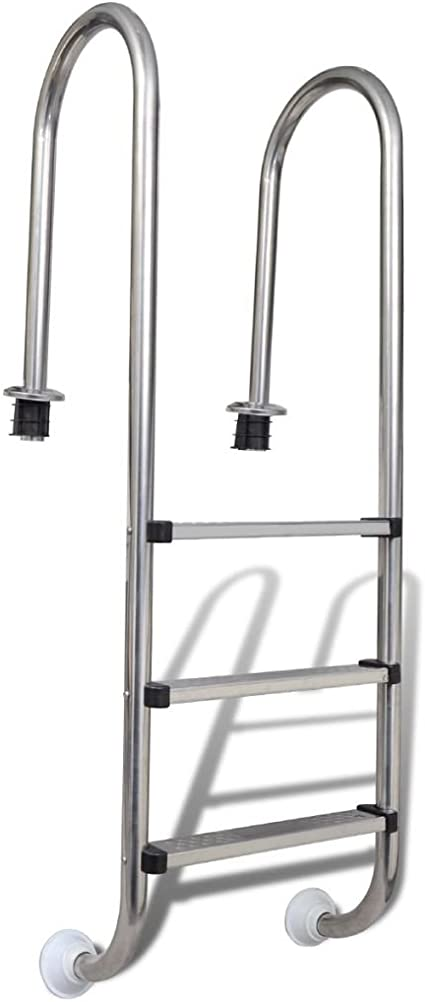Nishore Escalera Piscinas 3 Peldaños Acero Inoxidable Durader 120cm Escalinata Escala SPA Jacuzzi 49 x 36 x 158 cm: Amazon.es: Hogar
