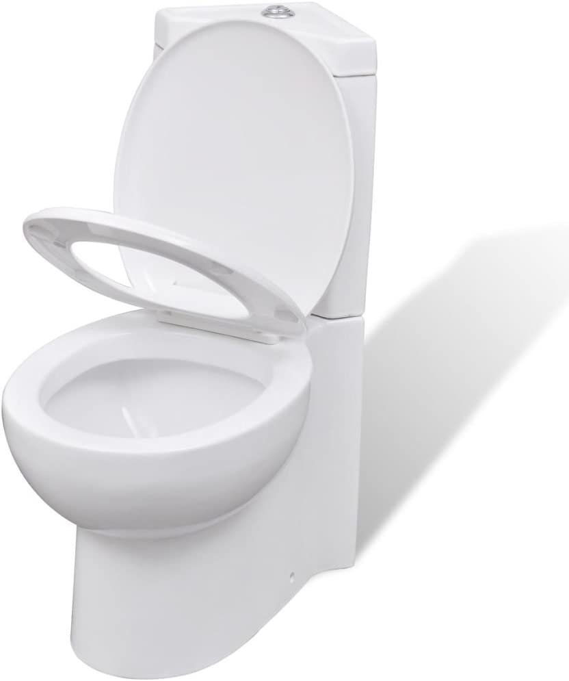 WC Toilette Keramik Stand Sitz Bodenstehend Ecke Softclose mit Spülkasten Weiß