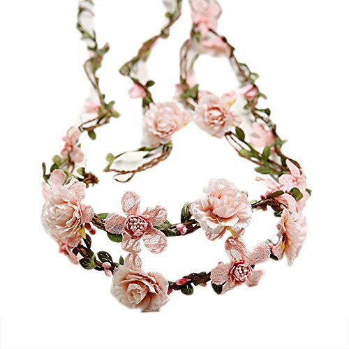 Bueer Flower Wreath Headband Crown Floral Garland Boho for Festival Wedding (Light Pink) (Crown Flower Shape Petal)