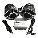 #9: Shark Marine Motorcycle / Boat / UTV Speaker Amplifier System with 300 Watt Waterproof Speakers, 600 Watt Amp, Color: Chrome.