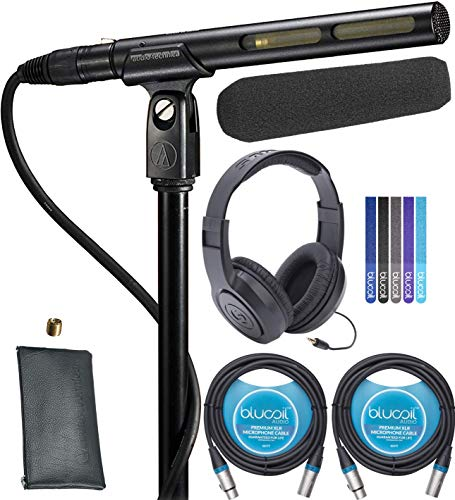Technica Shotgun Mic Audio - Audio-Technica AT875R Line + Gradient Condenser Microphone Bundle with Samson SR350 Over-Ear Closed-Back Headphones, Blucoil 2-Pack of 10-FT Balanced XLR Cables, and 5-Pack of Reusable Cable Ties