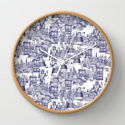 Blue Walking Doodle Clock