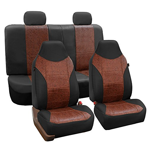 FH GROUP FH-PU160114 PU Classic Leather Seat Covers Brown / Black, Airbag compatible and Split Bench-Fit Most Car, Truck, Suv, or Van - Covers Seat Classic