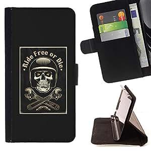 BullDog Case - FOR/Samsung Galaxy A3 / - / RIDE FREE OR DIE MOTORCYCLE BLACK /- Monedero de cuero de la PU Llevar cubierta de la caja con el ID Credit Card Slots Flip funda de cuer