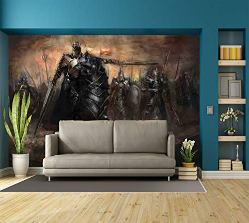 Large Wall Mural Sticker [ Fantasy World,King with Armor Leading His Army War Evil and Good Ancient City Illustration,Black Brown ] Self-adhesive Vinyl Wallpaper / Removable Modern Decorating Wall Art -