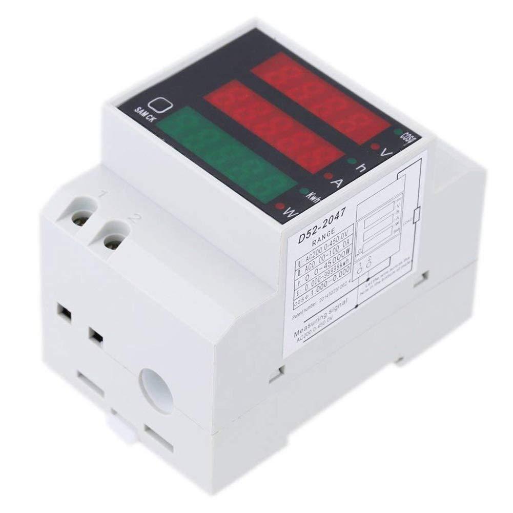 WOVELOT Ac 200-450V Vat/ímetro Digital de Carril DIN Volt/ímetro Amper/ímetro