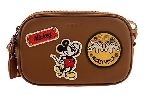 COACH MICKEY Crossbody Pouch in Glove Calf Leather Saddle (Saddle) by Coach