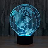 Hica 3D Globe Colorful Light LED Night Light Changing Seven Colors Decor Charging Table Desk Lamps Gift lights For Festival /Birthday Present/Children's gift(America)