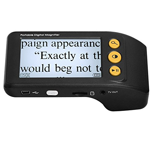 Lzcat 3.5 Inch Electronic Portable Video Aids Digital Magnifier for Low Vision, Magnification 2X/8X/16X/25X (Black) by Lzcat