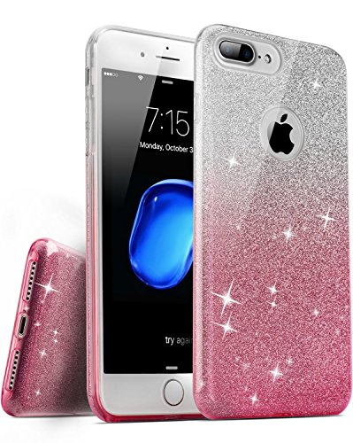 iPhone 7 Plus / iPhone 8 Plus Case, [Anti-Discoloration, Durable TPU Rubber] Twinkling Soft Stylish Design with Shiny Sparkling Glitter Stars