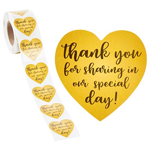 Thank You Stickers - 500-Count Wedding Favor Sticker Labels, Thank You for Sharing in Our Special Day Stickers, Heart-Shaped Sticker Roll for Baby Shower, Wedding, Birthday, Gold, 1.5 Inches Diameter